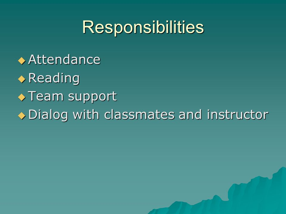 Responsibilities  Attendance  Reading  Team support  Dialog with classmates and instructor