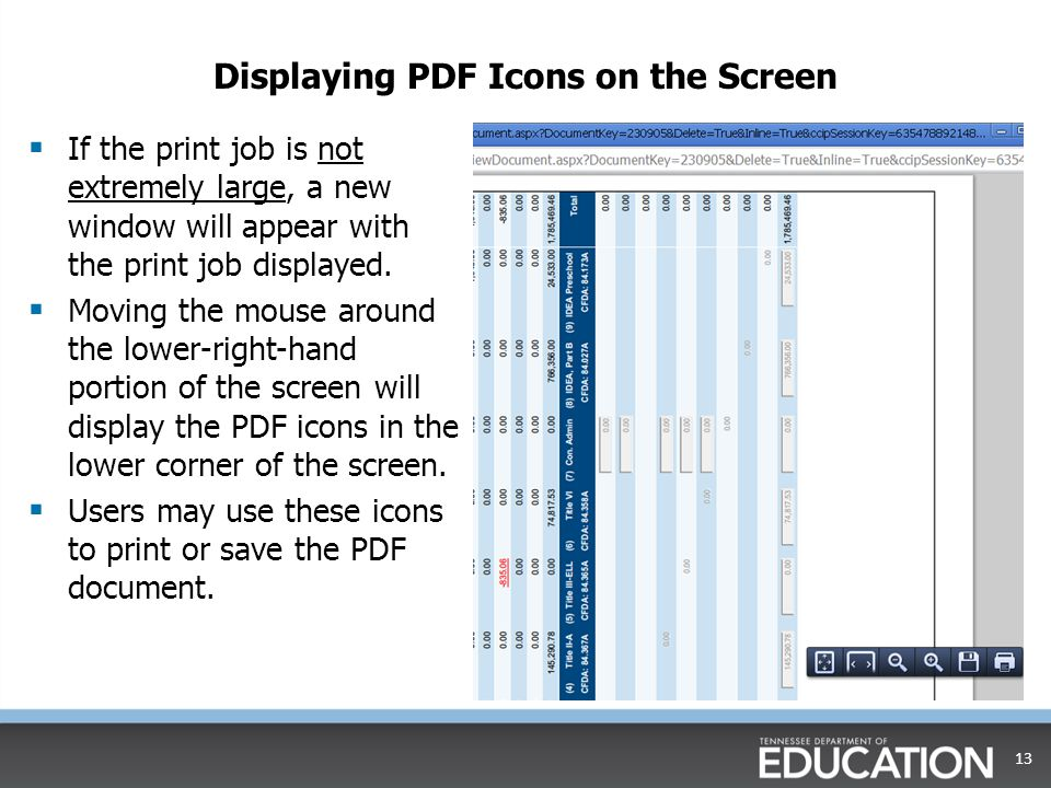 Displaying PDF Icons on the Screen  If the print job is not extremely large, a new window will appear with the print job displayed.