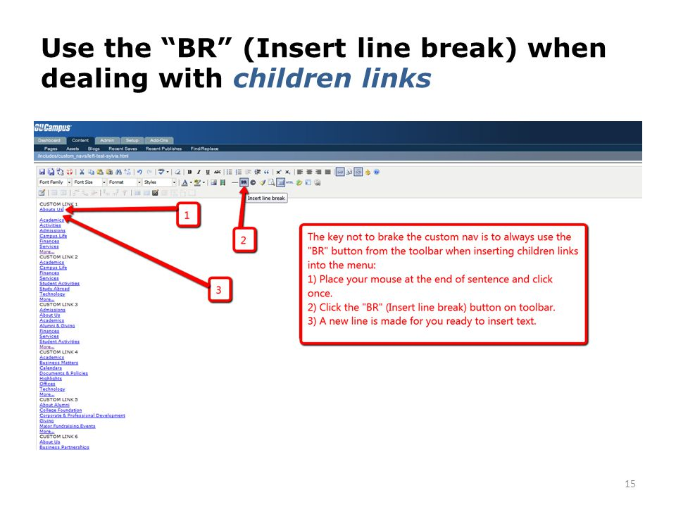 Use the BR (Insert line break) when dealing with children links 15