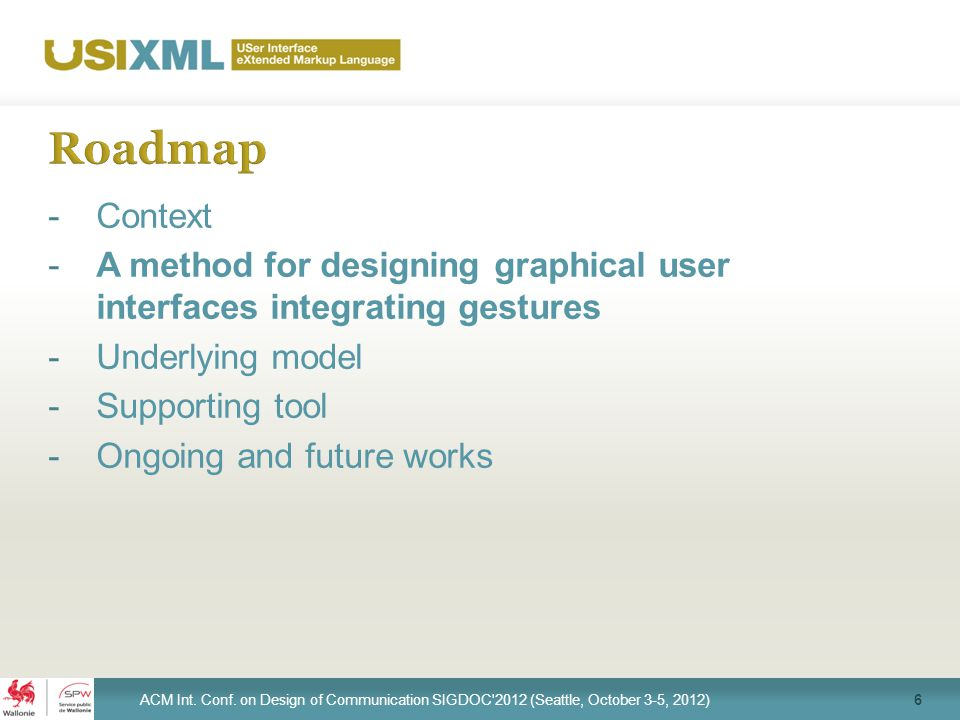 -Context -A method for designing graphical user interfaces integrating gestures -Underlying model -Supporting tool -Ongoing and future works 6 ACM Int.