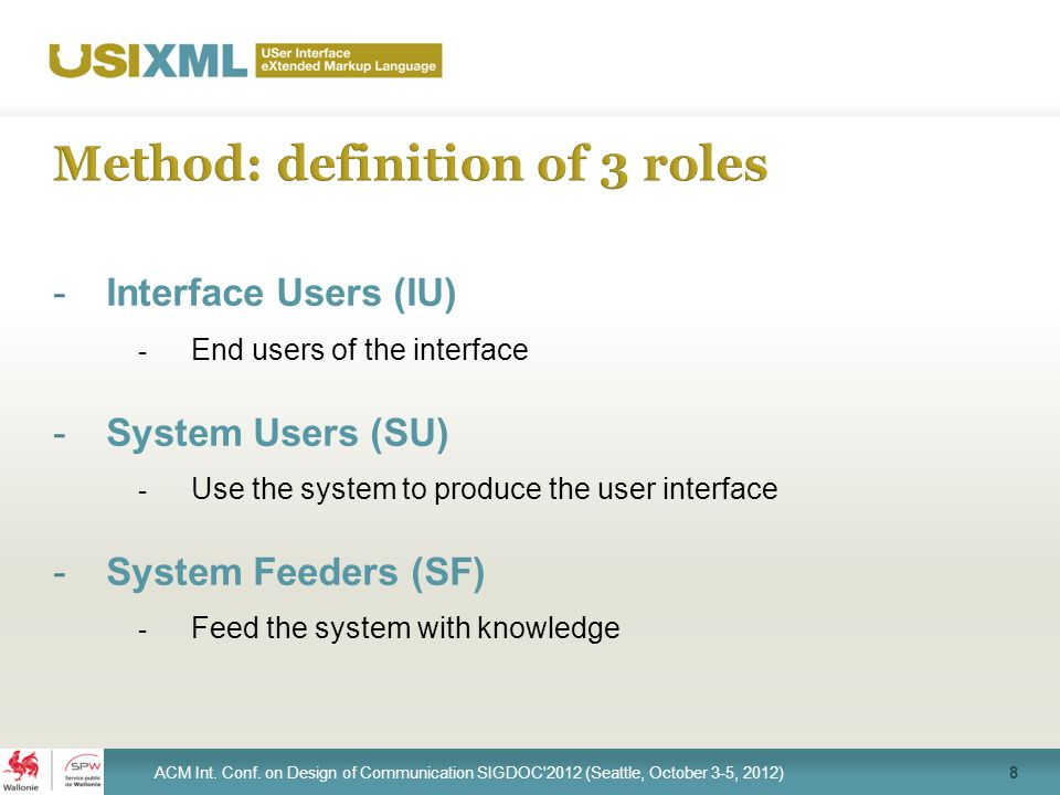 -Interface Users (IU) - End users of the interface -System Users (SU) - Use the system to produce the user interface -System Feeders (SF) - Feed the system with knowledge 8 ACM Int.