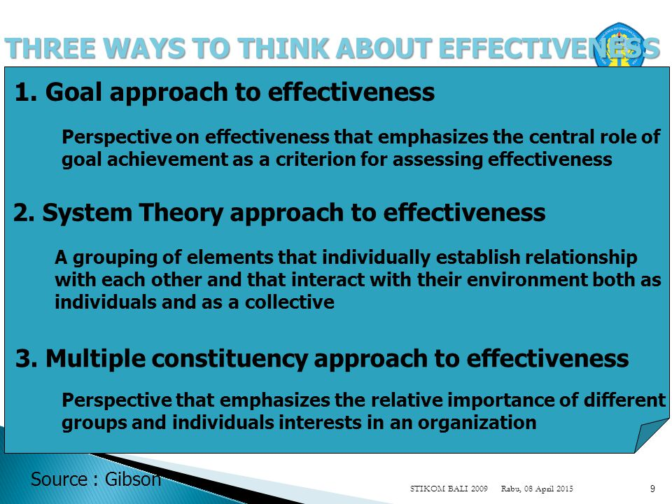 Rabu, 08 April 2015STIKOM BALI 2009 9 THREE WAYS TO THINK ABOUT EFFECTIVENESS 3.
