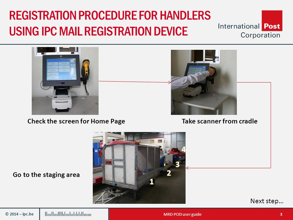 © 2014 – ipc.be REGISTRATION PROCEDURE FOR HANDLERS USING IPC MAIL REGISTRATION DEVICE 3MRD POD user guide Take scanner from cradle Go to the staging area Check the screen for Home Page Next step…