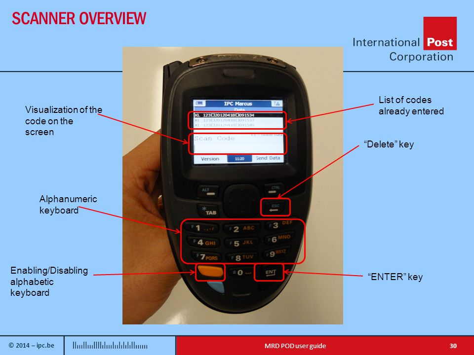 © 2014 – ipc.be SCANNER OVERVIEW 30MRD POD user guide Visualization of the code on the screen Alphanumeric keyboard Enabling/Disabling alphabetic keyboard Delete key ENTER key List of codes already entered