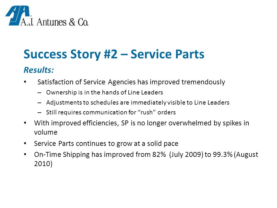 Success Story #2 – Service Parts Results: Satisfaction of Service Agencies has improved tremendously – Ownership is in the hands of Line Leaders – Adjustments to schedules are immediately visible to Line Leaders – Still requires communication for rush orders With improved efficiencies, SP is no longer overwhelmed by spikes in volume Service Parts continues to grow at a solid pace On-Time Shipping has improved from 82% (July 2009) to 99.3% (August 2010)