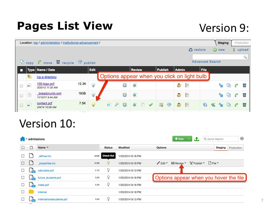 Pages List View 7 Version 9: Version 10: