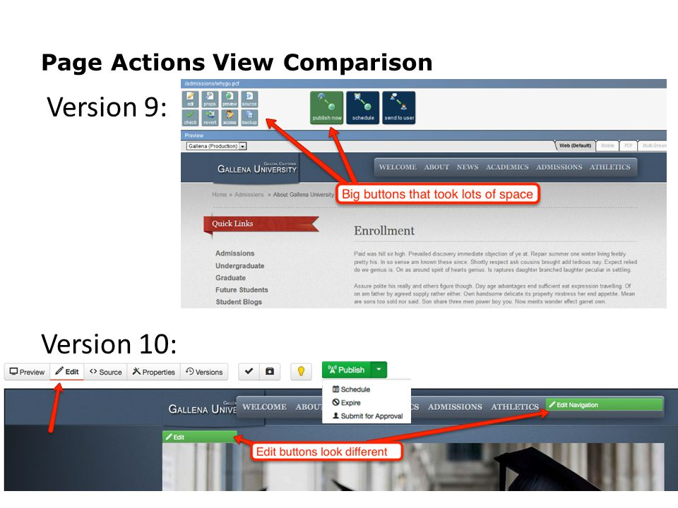 Page Actions View Comparison 8 Version 9: Version 10: