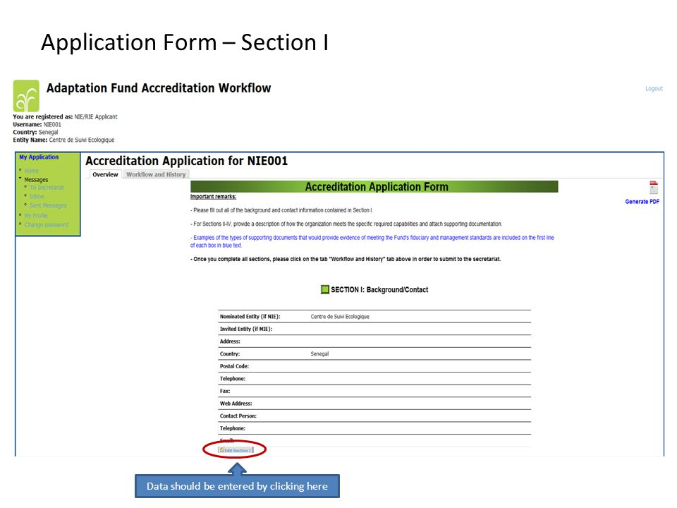 Application Form – Section I Data should be entered by clicking here