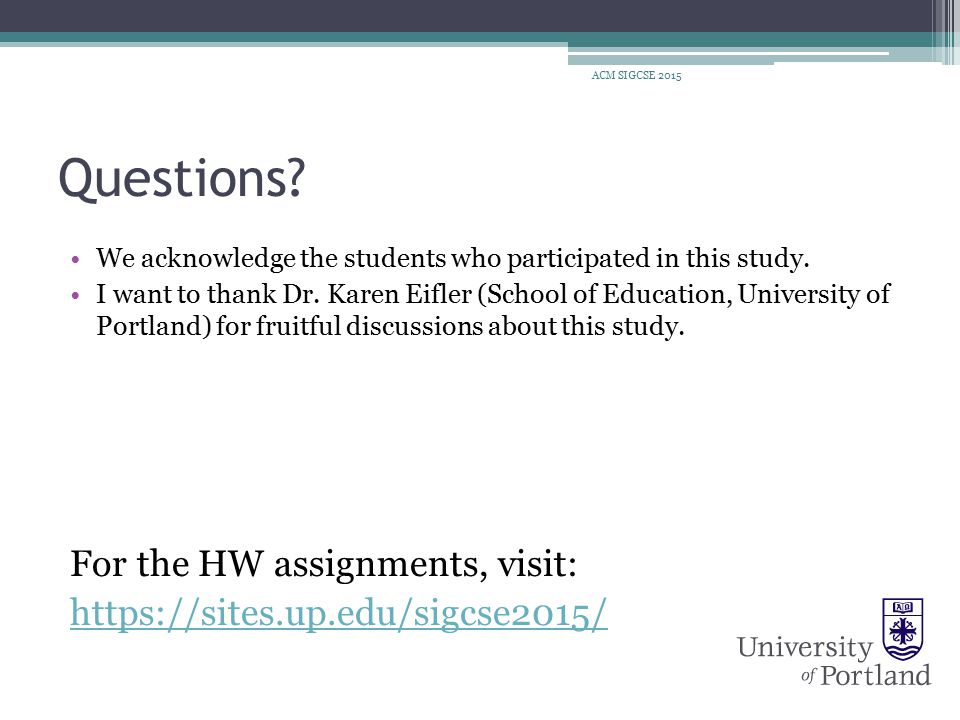 Questions. We acknowledge the students who participated in this study.