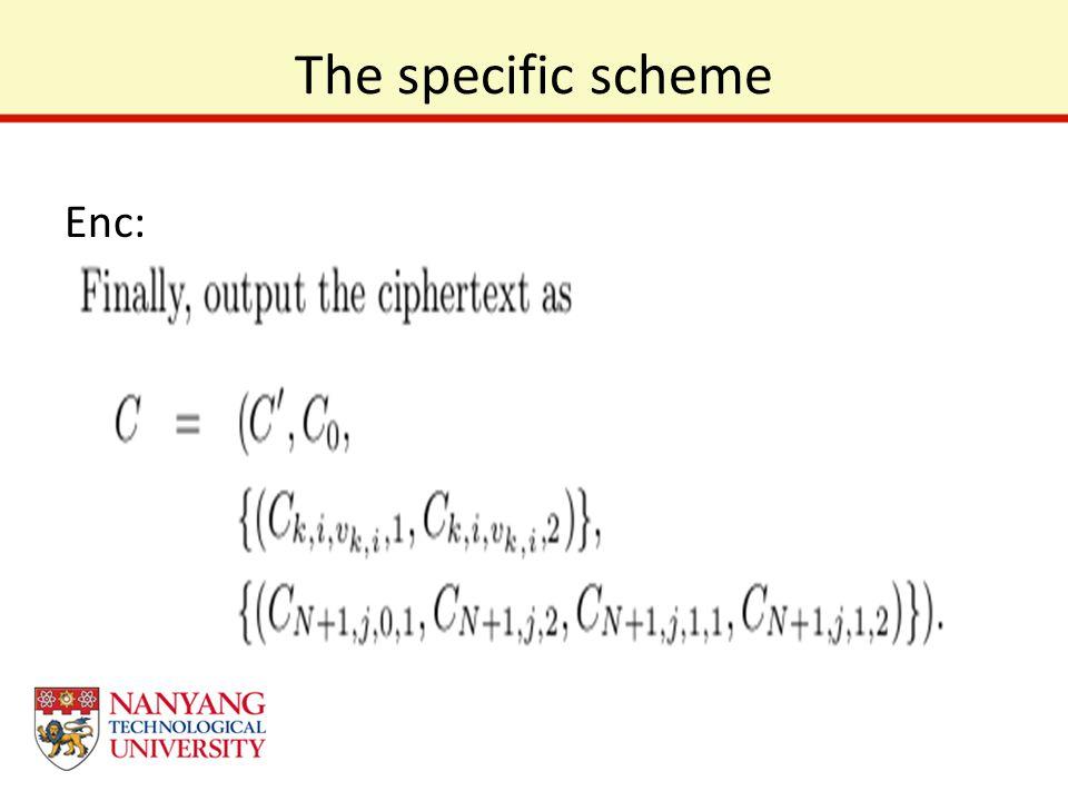 The specific scheme Enc: