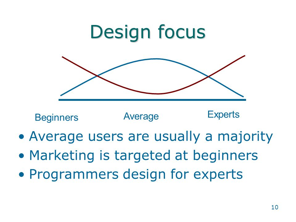 10 Design focus Beginners Average Experts Average users are usually a majority Marketing is targeted at beginners Programmers design for experts