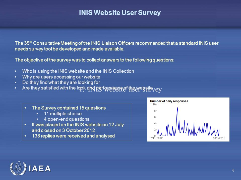 IAEA INIS Website User Survey The 35 th Consultative Meeting of the INIS Liaison Officers recommended that a standard INIS user needs survey tool be developed and made available.