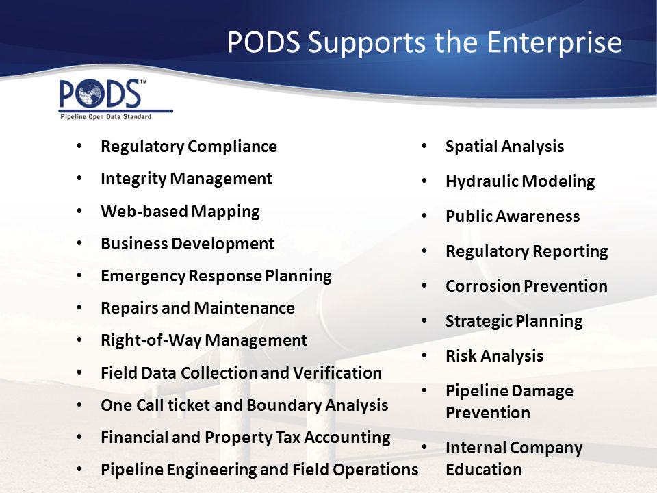 PODS Supports the Enterprise Integrity Management Internal Company Education Spatial Analysis Corrosion Prevention Regulatory Compliance Web-based Map