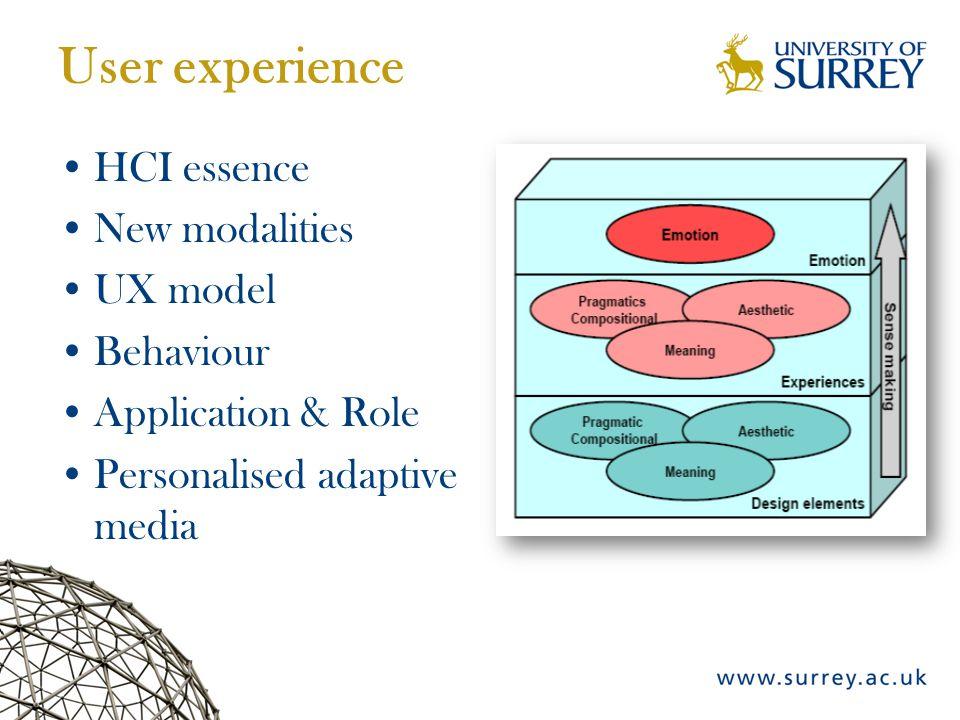 User experience HCI essence New modalities UX model Behaviour Application & Role Personalised adaptive media