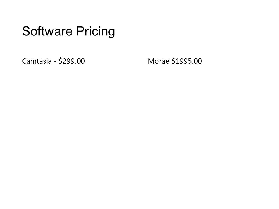 Software Pricing Camtasia - $299.00Morae $1995.00