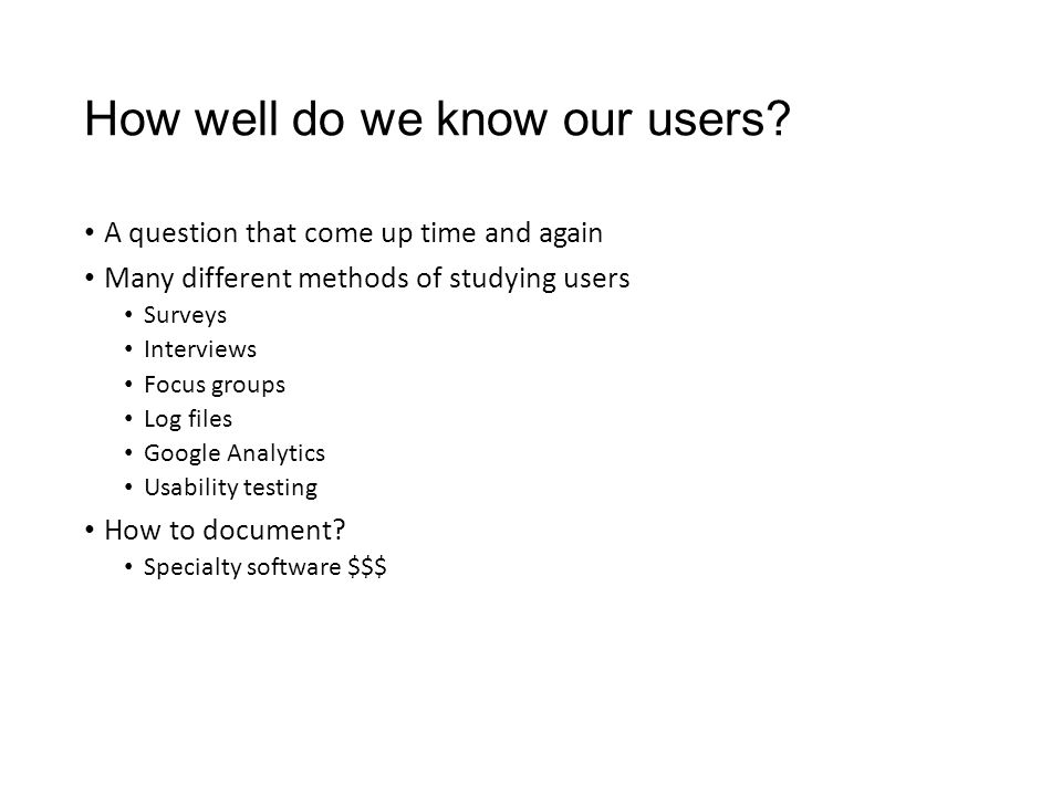 How well do we know our users.