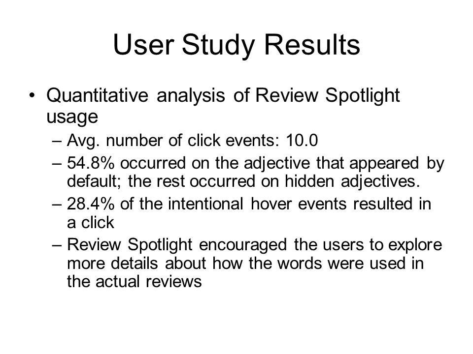 User Study Results Quantitative analysis of Review Spotlight usage –Avg.