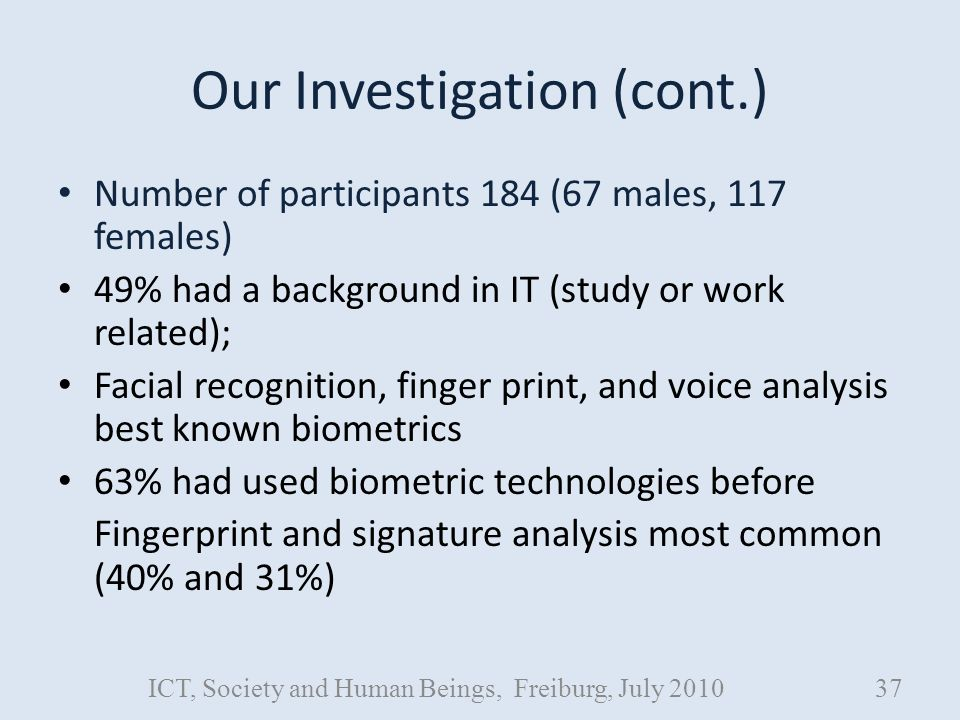 Our Investigation (cont.) Number of participants 184 (67 males, 117 females) 49% had a background in IT (study or work related); Facial recognition, finger print, and voice analysis best known biometrics 63% had used biometric technologies before Fingerprint and signature analysis most common (40% and 31%) ICT, Society and Human Beings, Freiburg, July 201037