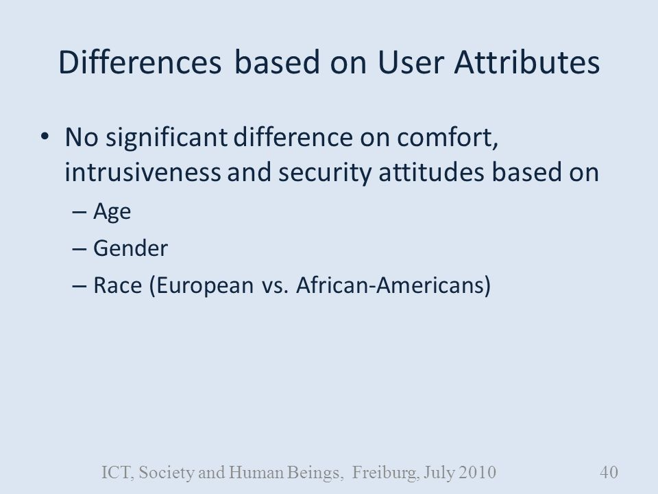 Differences based on User Attributes No significant difference on comfort, intrusiveness and security attitudes based on – Age – Gender – Race (European vs.