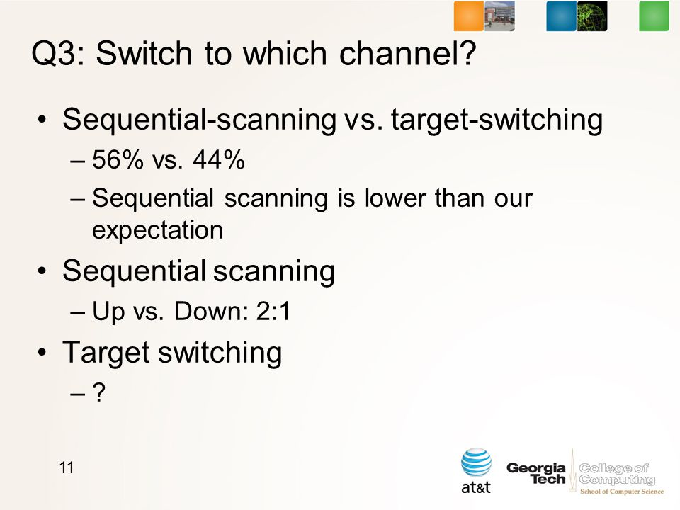 Q3: Switch to which channel. Sequential-scanning vs.