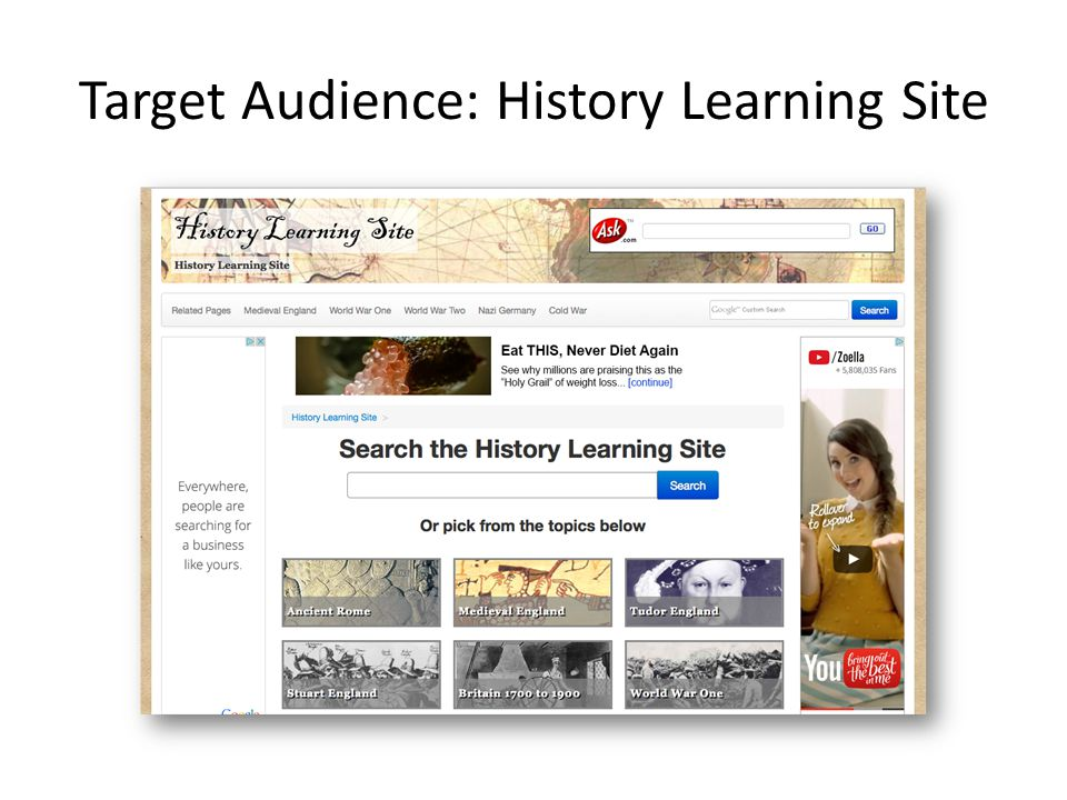 Target Audience: History Learning Site