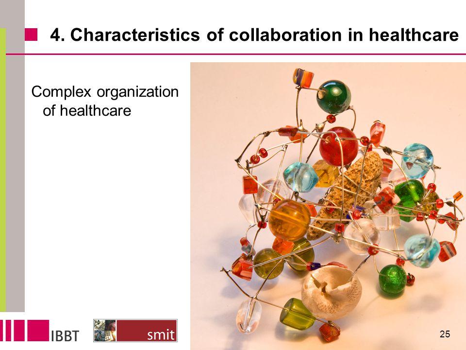4. Characteristics of collaboration in healthcare Complex organization of healthcare 25