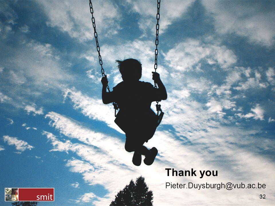Thank you 32 Pieter.Duysburgh@vub.ac.be