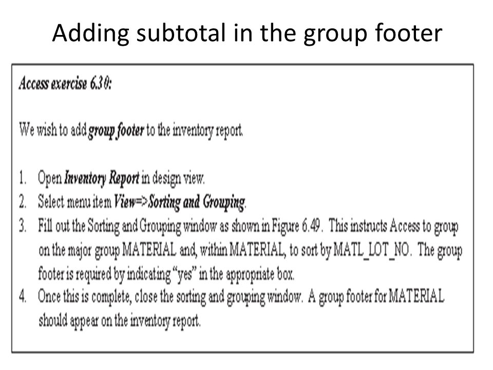 Adding subtotal in the group footer