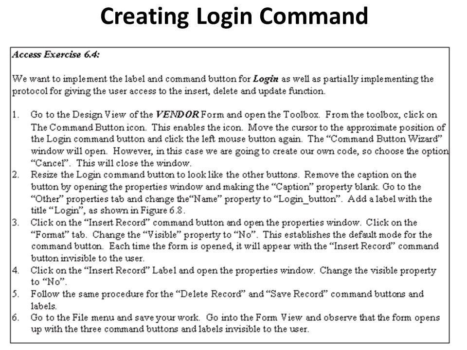 Creating Login Command