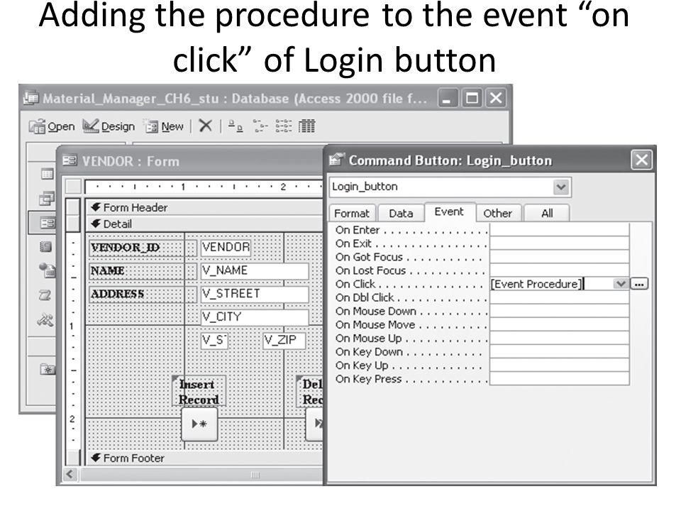 """Adding the procedure to the event """"on click"""" of Login button"""