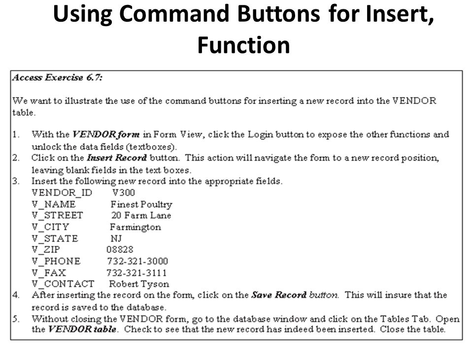 Using Command Buttons for Insert, Function