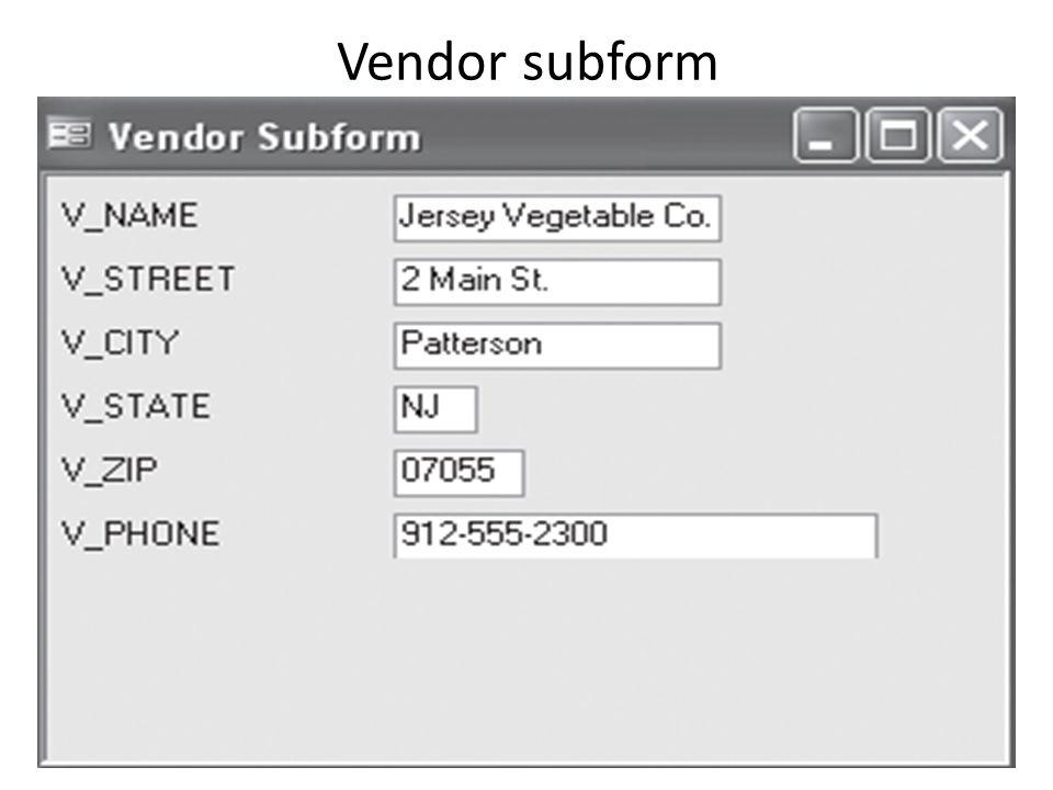 Vendor subform
