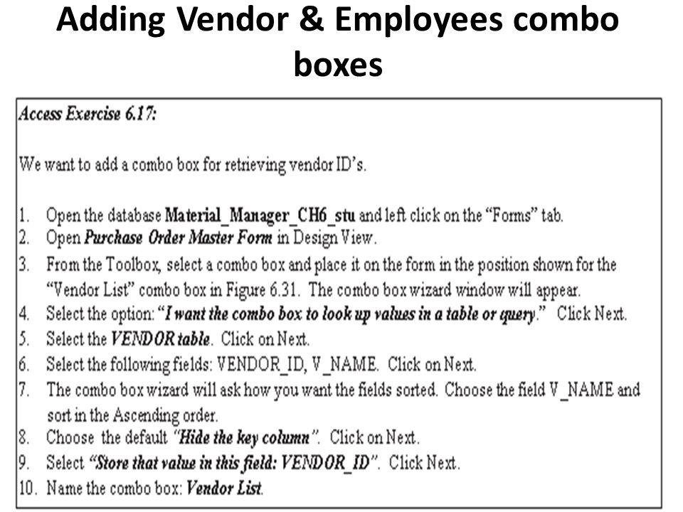 Adding Vendor & Employees combo boxes