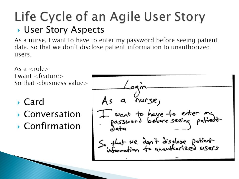  User Story Aspects  Card  Conversation  Confirmation As a nurse, I want to have to enter my password before seeing patient data, so that we don't