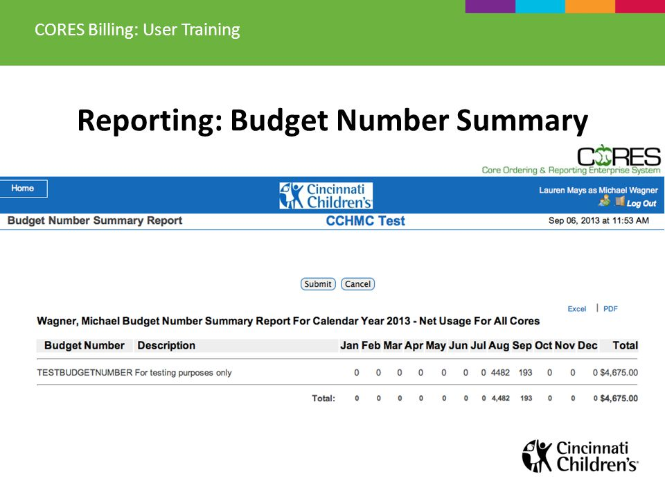 Reporting: Budget Number Summary CORES Billing: User Training