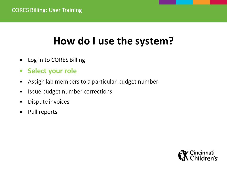 Entry: Budget Number Correction CORES Billing: User Training