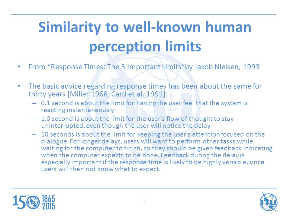 Similarity to well-known human perception limits From Response Times: The 3 Important Limits by Jakob Nielsen, 1993 The basic advice regarding response times has been about the same for thirty years [Miller 1968; Card et al.