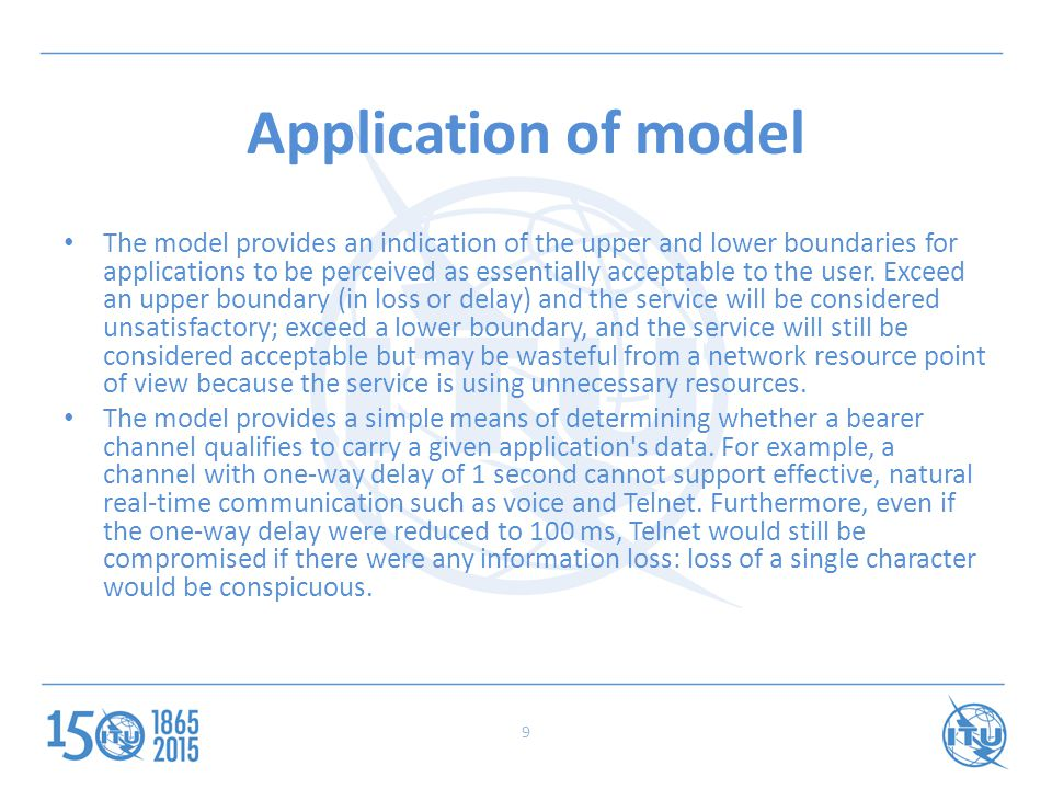 Application of model The model provides an indication of the upper and lower boundaries for applications to be perceived as essentially acceptable to the user.