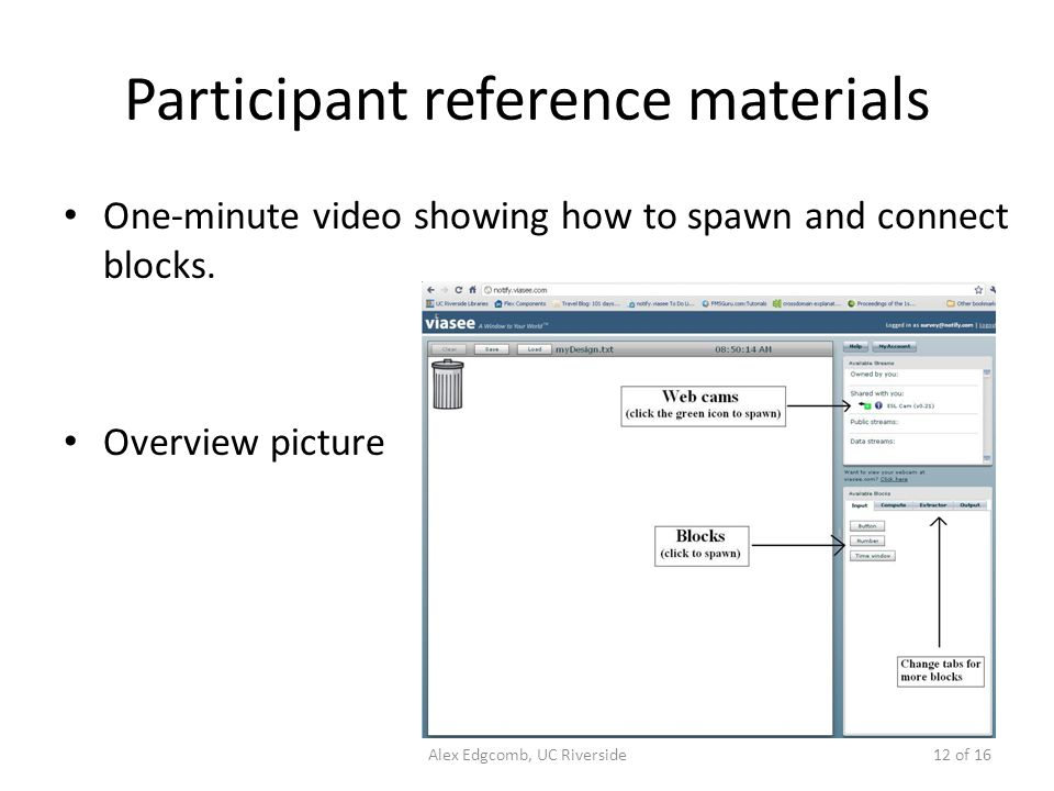 Participant reference materials One-minute video showing how to spawn and connect blocks.