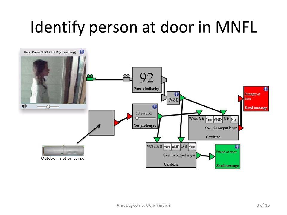 Identify person at door in MNFL Alex Edgcomb, UC Riverside8 of 16 Outdoor motion sensor