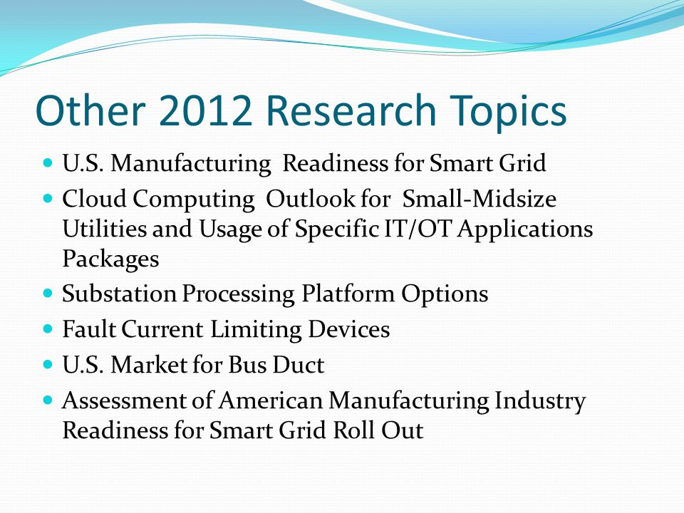 Other 2012 Research Topics U.S.