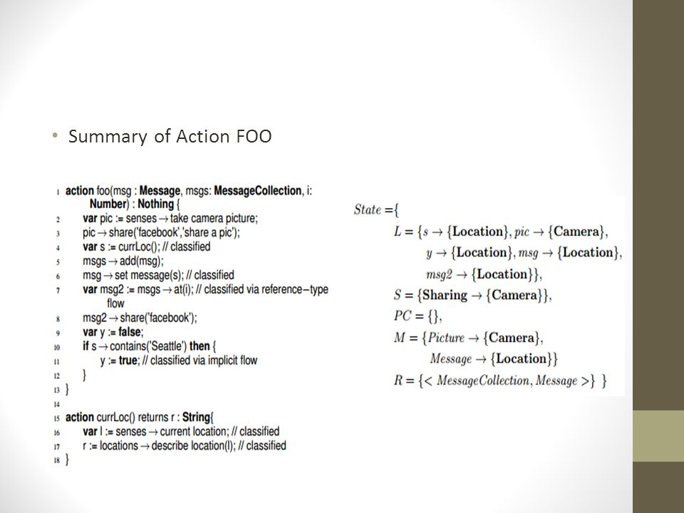 Summary of Action FOO