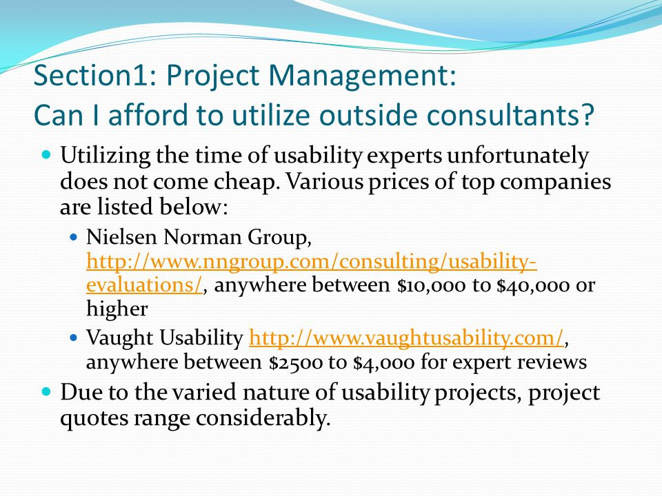 Section1: Project Management: Can I afford to utilize outside consultants.