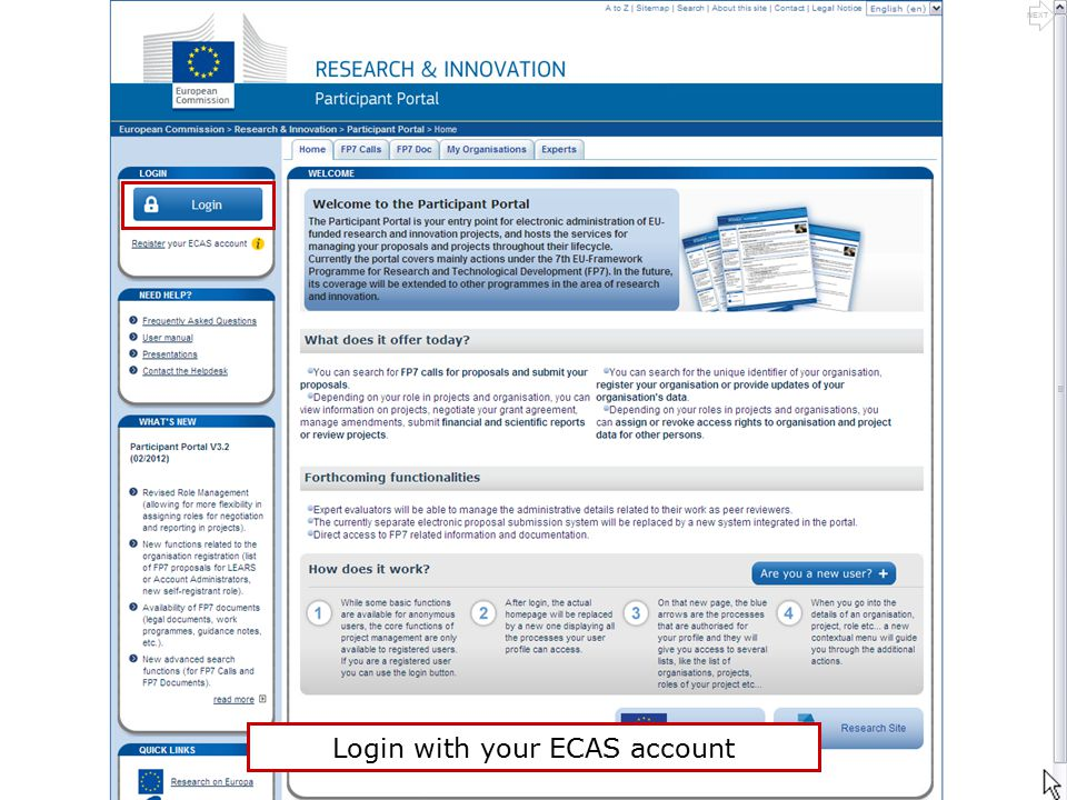 Login with your ECAS account