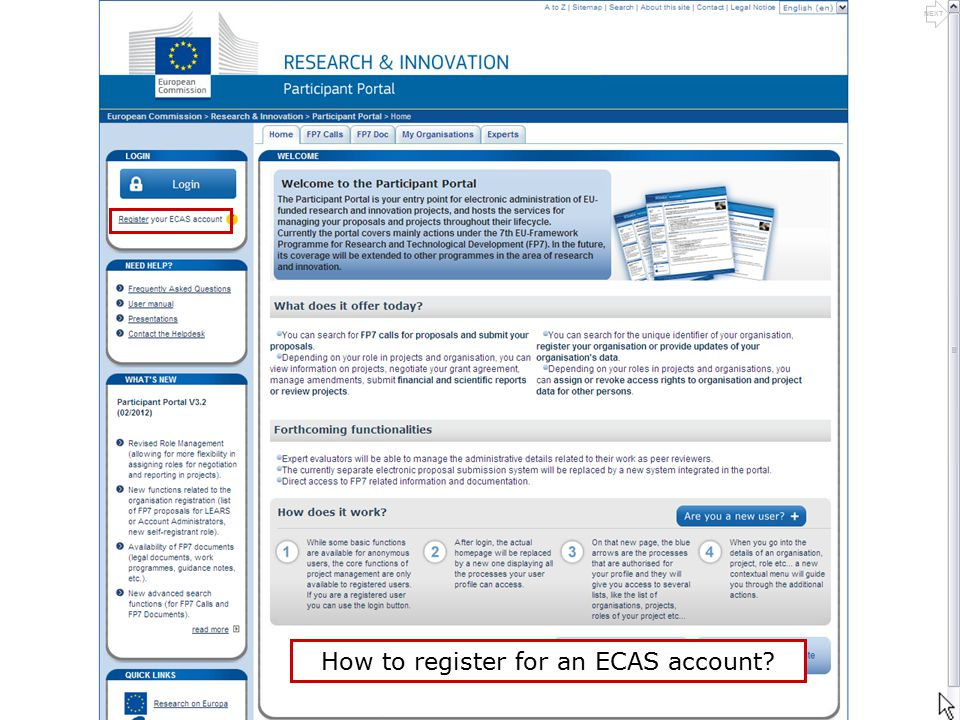 How to register for an ECAS account