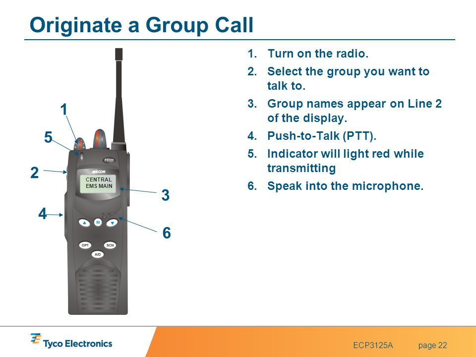ECP3125Apage 22 CENTRAL EMS MAIN 4 4 1 1 2 2 3 3 5 5 Originate a Group Call 1.Turn on the radio. 2.Select the group you want to talk to. 3.Group names