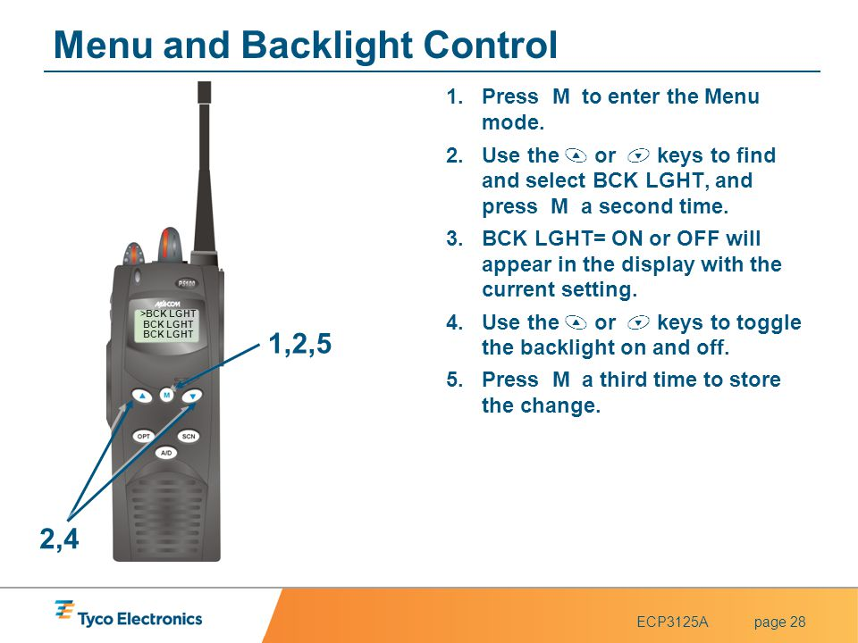 ECP3125Apage 28 1,2,5 2,4 Menu and Backlight Control 1.Press M to enter the Menu mode. 2.Use the  or  keys to find and select BCK LGHT, and press M