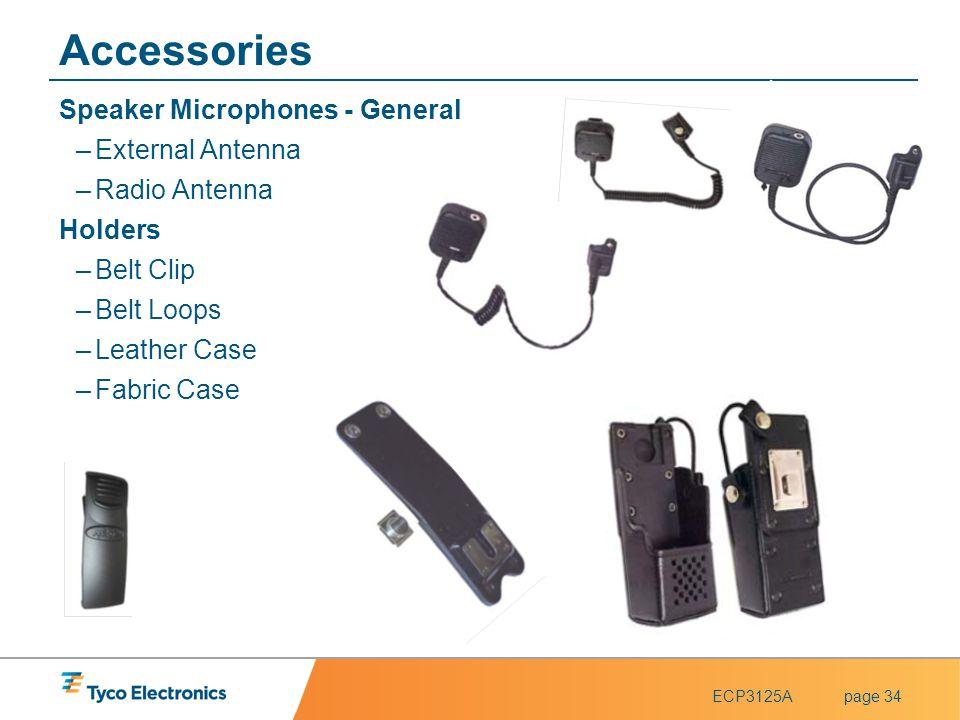 ECP3125Apage 34 Accessories Speaker Microphones - General –External Antenna –Radio Antenna Holders –Belt Clip –Belt Loops –Leather Case –Fabric Case