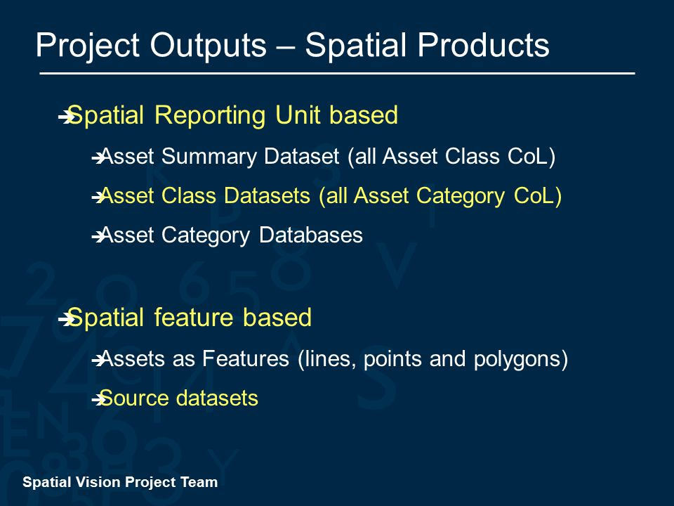 Spatial Vision Project Team Project Outputs – Spatial Products  Spatial Reporting Unit based  Asset Summary Dataset (all Asset Class CoL)  Asset Class Datasets (all Asset Category CoL)  Asset Category Databases  Spatial feature based  Assets as Features (lines, points and polygons)  Source datasets