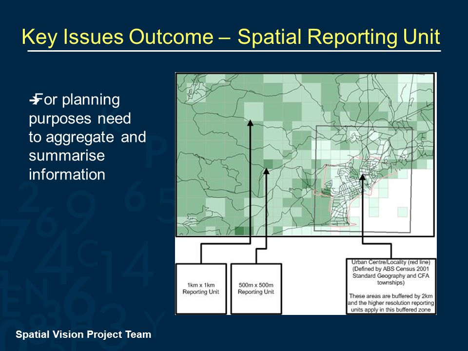Spatial Vision Project Team Key Issues Outcome – Spatial Reporting Unit  For planning purposes need to aggregate and summarise information